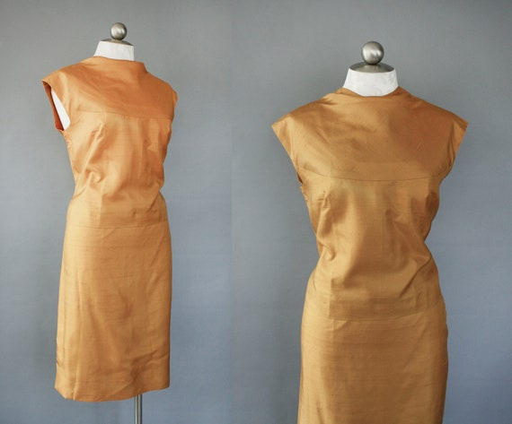 60s goldenrod raw silk 2 piece dress set / Autumn Gold / size large