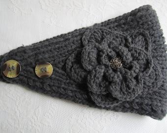 Grey ( dark grey) knit headband, ear warmer with crochet flower and rhinestones button