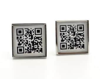 Mens cufflinks techie qr code cuff links for men social media inspired custom accessories handcrafted in the USA