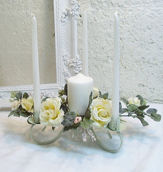 Vintage candle holder centerpiece silk flowers floral