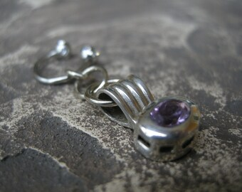 Belly Button Jewelry / Belly Button Ring in Sterling Silver with Amethyst - Handcrafted Belly Jewelry February Birthstone
