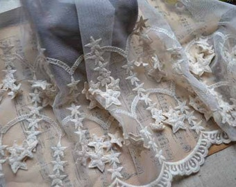 2 Yards Retro Venice White Cotton Lace Trim Star Lace Trim Sewing Costume Apparel Supplies 21cm/8.26 inches