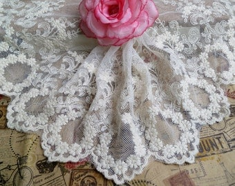 15 yards White EMbroidery Mesh Lace Trim- White Floral Lace for Wedding Lace