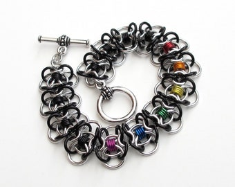 Clearance 40% off, Rainbow chainmaille bracelet, gay pride bracelet