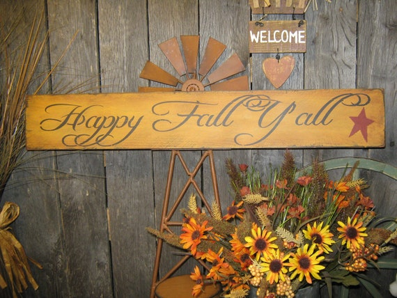 "... Sign "" HAPPY FALL Y'ALL "" ThanksGiving Sign Holiday Fall Ha..."