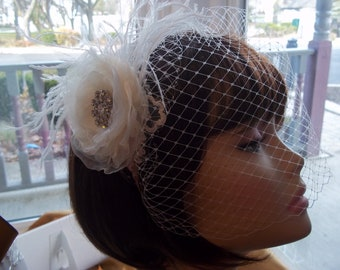 Ivory Birdcage Veil -  Feathers, Blossom and Lace Headband - Bridal Fascinator with Lace and Feathers - 1920s Style Bride - Flapper