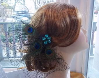 Fascinator / Birdcage with Peacock Feathers and Rhinestones- Peacock Headpiece - A Bijoux Bridal Chicago Signature Design