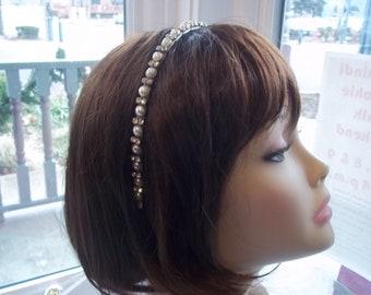 Bridal Headband - Pearl and Rhinestone Simple Elegance