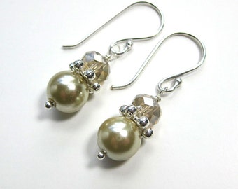 Pearl and crystal earrings in ivory and champagne, bridal, bridesmaids earrings