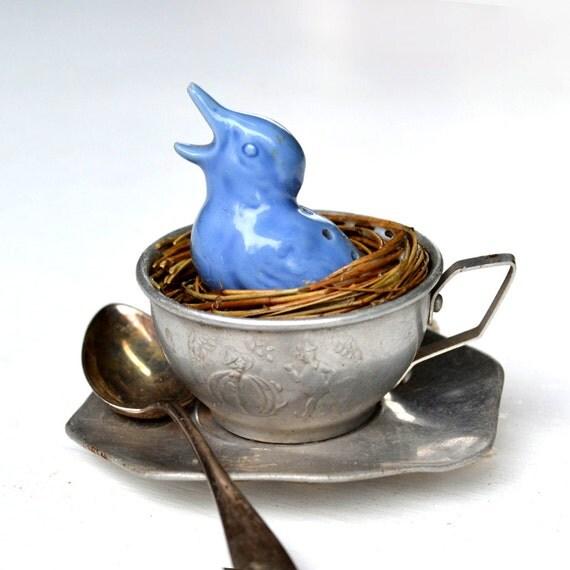 original vintage bird ornament tin tea cup birds nest   by Elizabeth Rosen