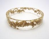 Resin Bangle Bracelet Gold Leaf Flake