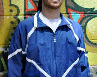 Blue and white 80s Pierre Cardin zip up jacket