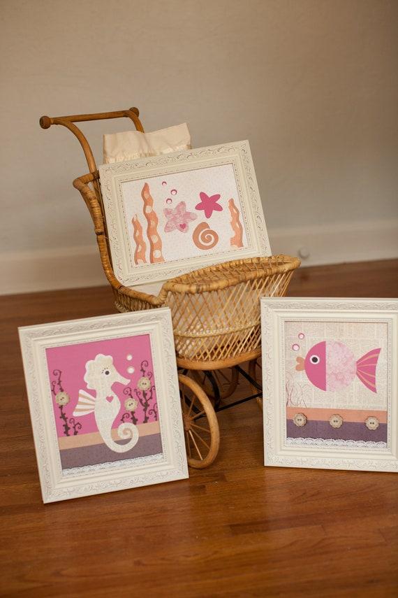 Girl's Fish bathroom art, beach bathroom decor, fish bathroom decor, Ocean Nursery bedding art, beach baby nursery, kids room decor