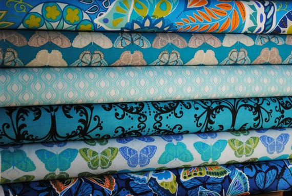 Valori Wells for Free Spirit, Cocoon, Half Yard Bundle, 6 Prints, Sapphire