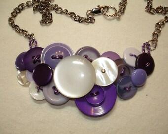 Button Necklace - Vintage Button Jewelry  - Vintage buttons  - Purple - Pearl Buttons - PURPLE HAZE