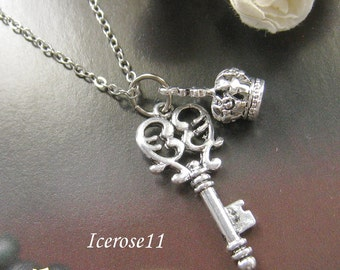 Antique Silver Key and crown necklace
