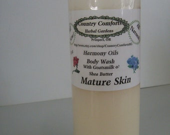 Mature Skin Natural Body Wash - With Goatsmilk, Shea Butter and Silk Protein Conditioners - Thick, Rich Formula - 8 ounce size