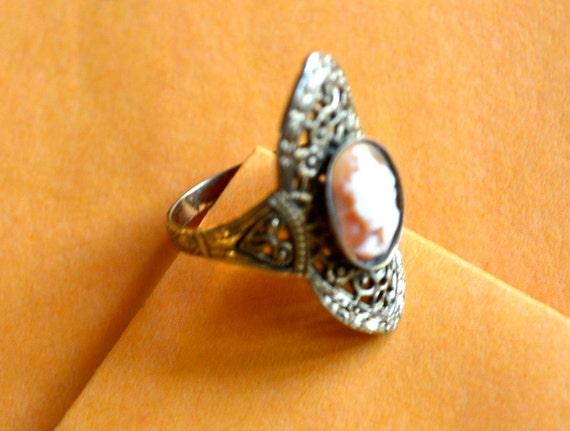 Pink & White Cameo Ring Size 7,  Stamped 14K F, Vintage Filigree, Victoria Era