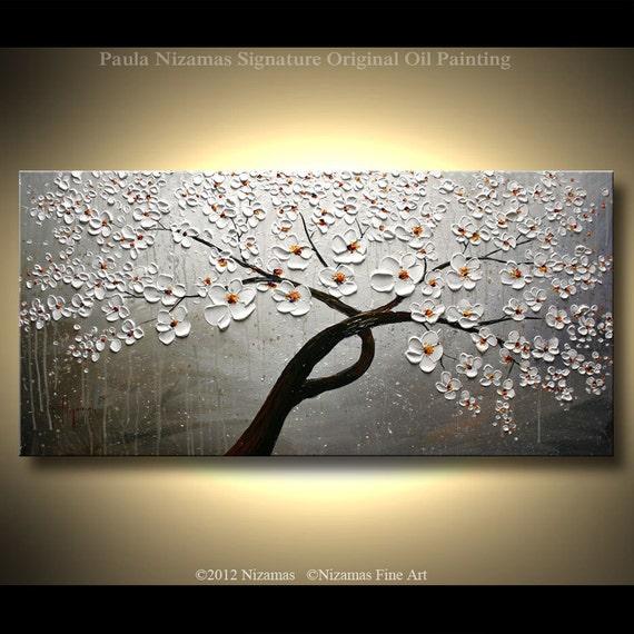 "ORIGINAL Tree Painting Abstract White Cherry Blossom Textured Modern Art by Nizamas 47"" x 24"""