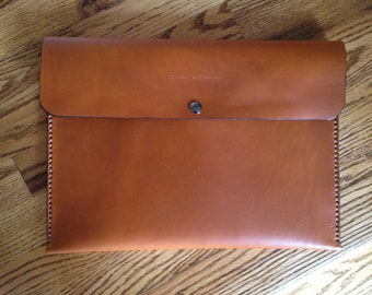 Genuine Leather Portfolio with Flap Handmade, Snap Closure - Made in the USA - Saddle Tan