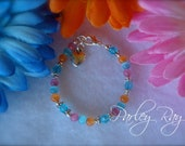 Parley Ray Baby Girls Bracelet Swarovski Crystal, Cat Eye Beads with a Heart Charm Orange, Blue and Pink