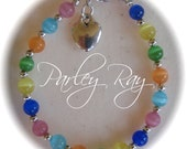 Parley Ray Baby Girls Rainbow Bracelet Cat Eye Beads with an adorable Heart Charm