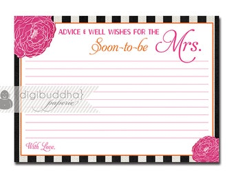 Wedding welcome sign reception or ceremony by onthegoprints for Bridal shower advice cards template