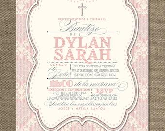 Damask Bautizo Invitation Spanish Bautismo Baby Girl Pink Shabby Chic Christening Cross FREE PRIORITY SHIPPING or DiY Printable - Dylan
