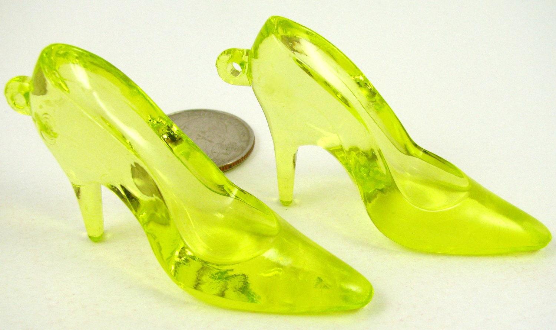 lime green high heels pendants acrylic large by ...