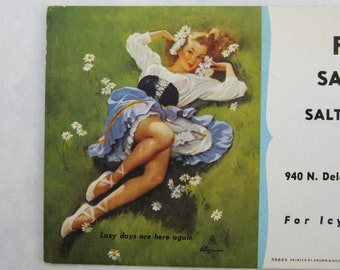 Vintage Original Pin Up Advertisement Girlie Cards Risque Upskirt Laying in Field 50s Pin Up Girl