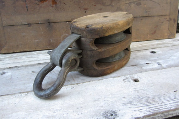 Huge Massive Antique Wood and Iron Pulley Wheel Industrial Use Salvaged Farm Artifact Nautical Ship Boat