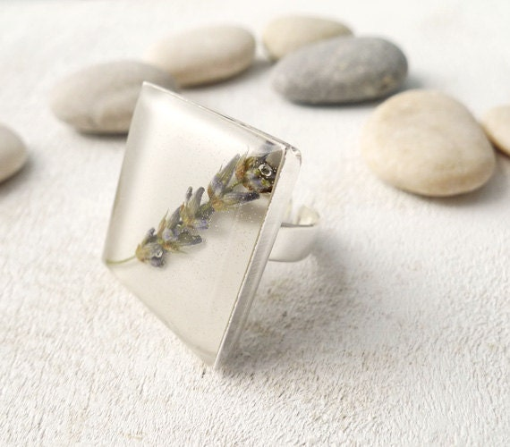 real lavender flower ring epoxy resin jewelry for nature