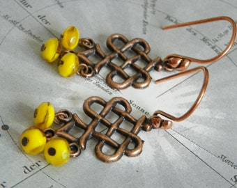 SOLEIL Copper & Sunny Yellow Bead Dangle Earrings