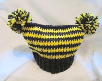 Customized Yellow and Black PomPom Hat