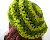 Crocheted tam, beret, green striped hat winter accessories, forest green - delectare