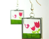 Unique Glass Earrings with Pink Birds and Tulips