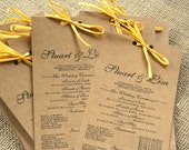 Long Rustic Wedding Program, Recycled Paper, Elegant, Modern, Vintage Inspired, Ribbon, Kraft Paper: Deposit