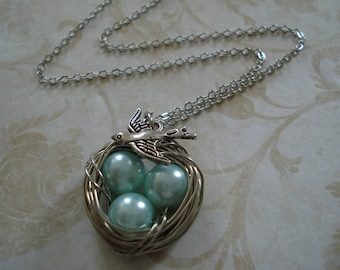 Aqua Blue Pearl Bird's Nest Necklace