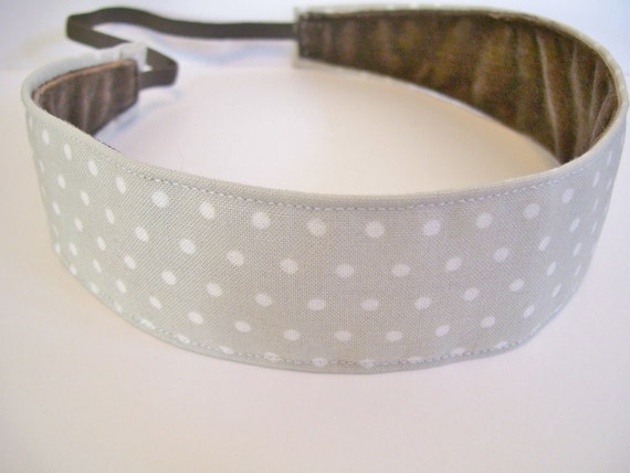 Pebble and Cream Polka Dot Fabric No Slip Headband