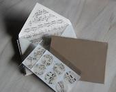 Set of 14:  Vintage Sheet Music Lined Envelope Note Card Set with Seals
