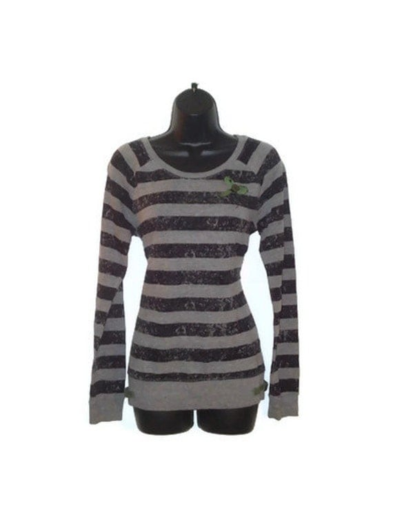 Womens Upcycled Black and Gray Striped Military Inspired Sweater with Olive Straps Womens Clothing Large