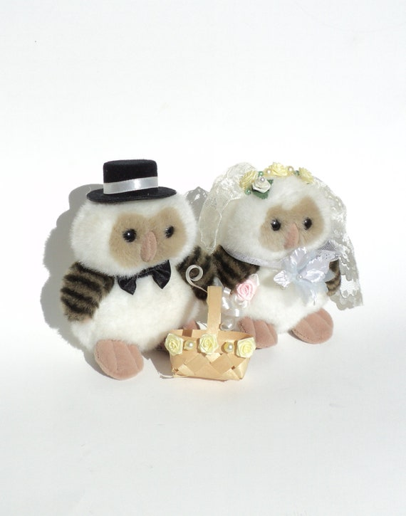 Bride Groom Owl, Plush Vintage Ganz Wedding Cake Topper, 1985