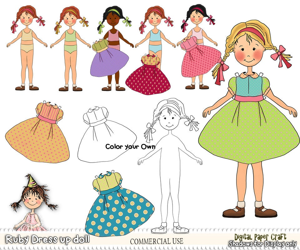 paper doll printable doll cut out doll printable craft doll doll and clothes childrens printable ruby doll instant download