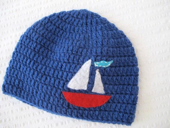 Sailboat Boy Hat with Felt Applique | Crochet Hat | Winter Hat | Nautical Hat | Sailing Hat