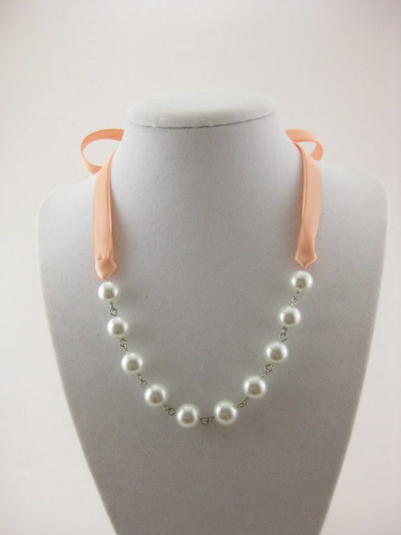 Bridesmaid Necklace Style 2 - Glass Pearl and Peach Satin Ribbon - Customizable