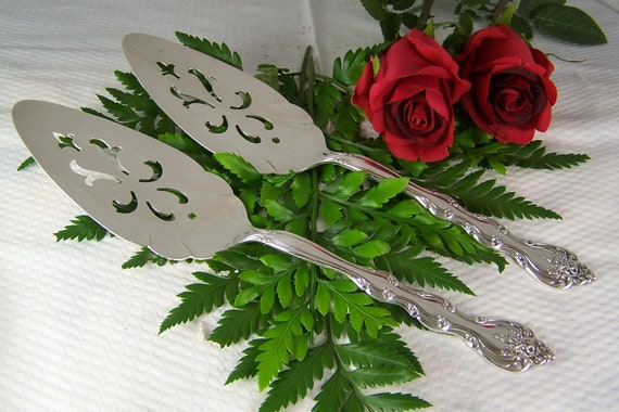 SALE - Wedding - TWO Cake SERVERS - Vintage Silverplate - Interlude by International -1971 to 1991 - Holidays/Everyday - Under 25
