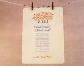 Fall Wedding Invitation , Save the Date , RSVP orange leaves - DEPOSIT