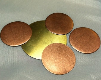 Free US Shipping disc blank  --handmade art blanks in brass-- choose gauge and size qty 4 to 8 pieces