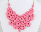 bubble necklace Pink  Necklace, Chunky Necklace,Pink  Bib Necklace Statement Necklace (NC653)