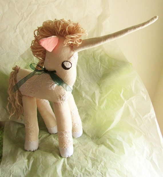 Unicorn with Lace and Old Doilies  Upcycled Linen